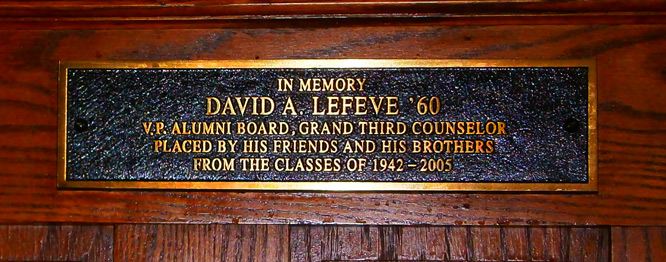 Plaque in the Memorial Room: In Memory of David Lefevre '60